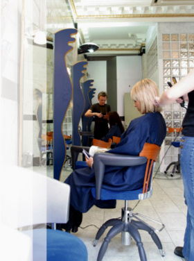 salon with customers